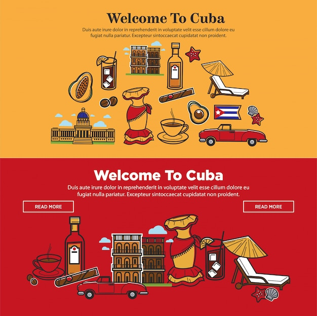 Welcome to cuba promotional poster with national symbols