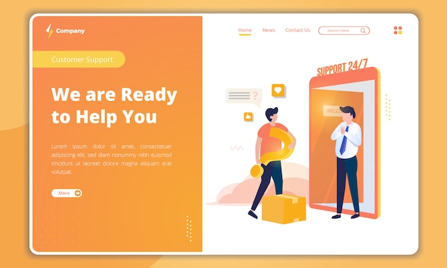 Welcome to customer support, offline support service concept on the landing page