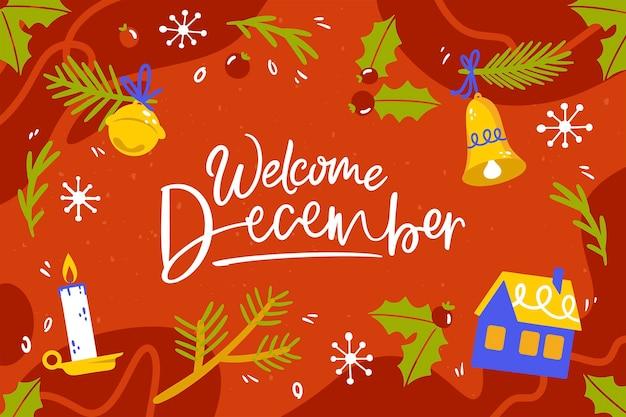 Welcome december lettering background