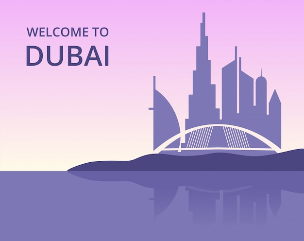 Welcome to dubai. vector panoramic cityscape of dubai with silhouette of skyscrapers buildings