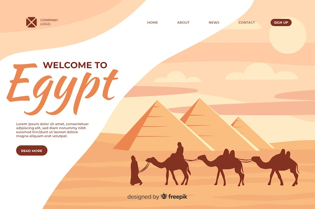 Welcome to egypt landing page template Premium Vector