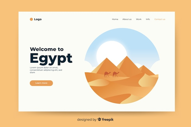 Welcome to egypt landing page with illustrations