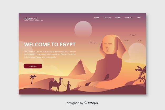 Welcome to egypt landing page