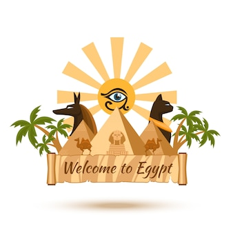 Welcome to egypt. pyramid and sun, sphinx and pharaoh