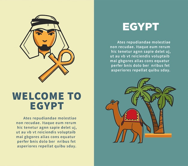 Welcome to egypt vertical posters with bedouin and camel