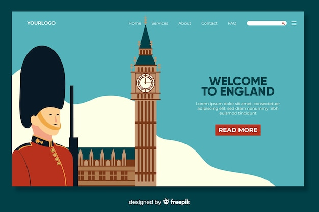 Welcome to england landing page template