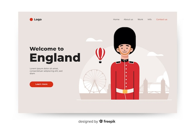 Welcome to england landing page with illustrations