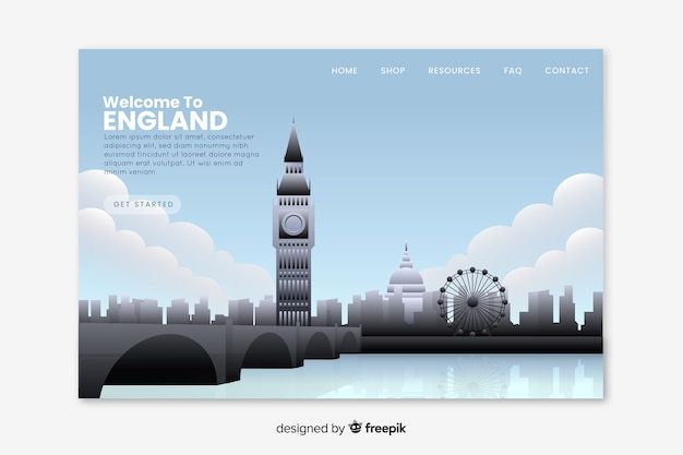 Welcome to england landing page