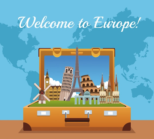 Welcome to europe concept vector illustration graphic design