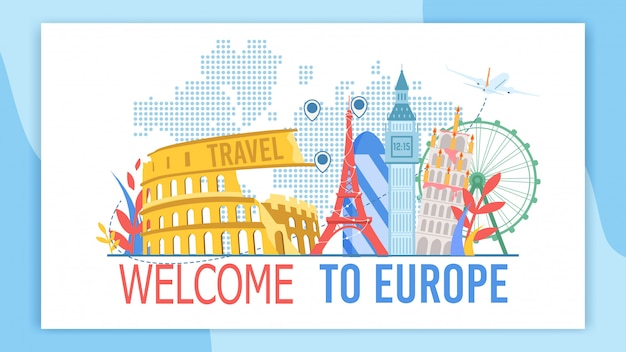 Welcome to europe flat vector advertising banner