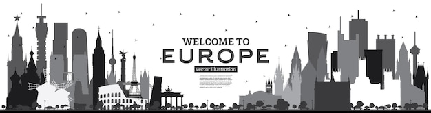 Welcome to europe skyline silhouette with black buildings isolated on white tourism concept with historic architecture europe cityscape with landmarks london berlin moscow