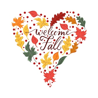 Welcome fall with composition of leaves on heart shape