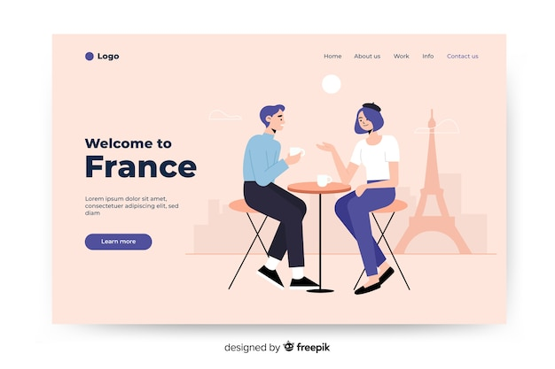 Benvenuto nella pagina di destinazione colorata della francia