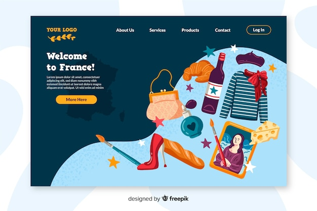 Welcome to france landing page flat design