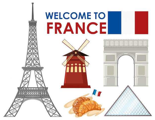 Welcome to france with landmarks