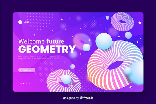 Welcome future 3d geometric landing page