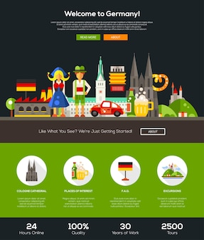 Welcome to germany travel website template Premium Vector
