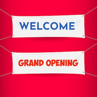 Welcome, grand opening banner vector template design illustration