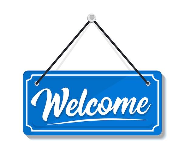 환영-투명 한 배경에 고립 된 문 기호를 매달려. 간판 환영합니다. 문에 대한 교수형 기호입니다. 밧줄로 간판입니다. 열린 비즈니스, 사이트 및 서비스에 대한 비즈니스 개념