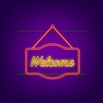 Добро пожаловать висящий знак. войдите в дверь. неоновая иконка. векторная иллюстрация.