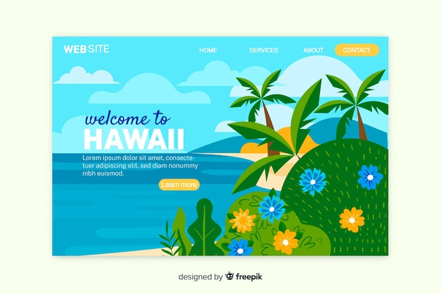 Welcome to hawaii landing page template