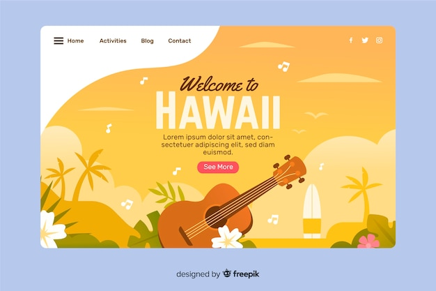 Welcome to hawaii landing page