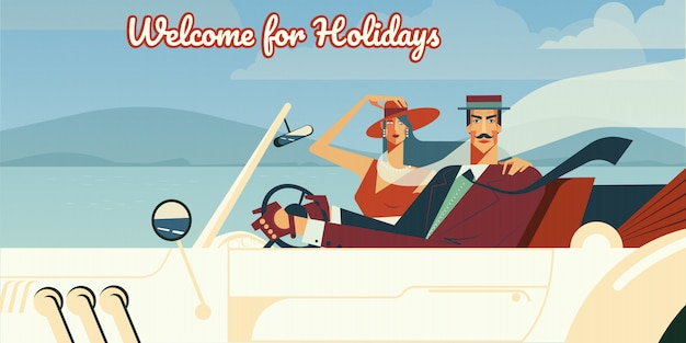Welcome for holidays retro illustration of man and woman driving in vintage cabriolet car.