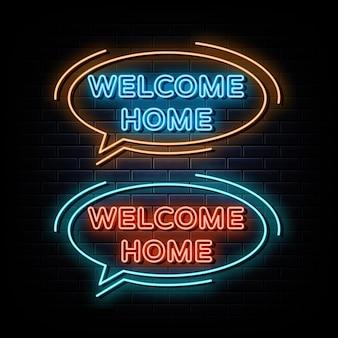 집에 오신 것을 환영합니다 네온 사인 네온 기호