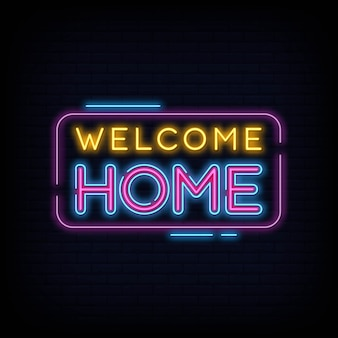 Welcome home neon sign text vector