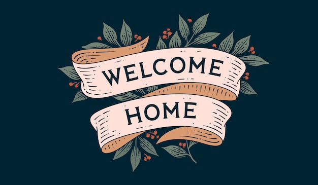 おかえりなさい。リボンとテキストのレトロなグリーティングカードウェルカムホーム彫刻スタイルの古いリボンバナー。グリーティングカードの古い学校のビンテージリボンは家を歓迎します。