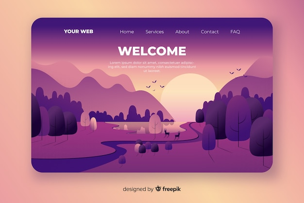 Welcome homepage with gradient landscape