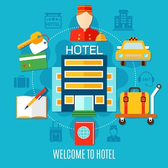 Welcome to hotel illustration