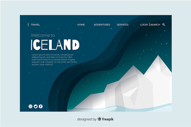 Welcome to iceland landing page