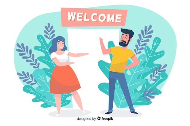 Welcome illustrated concept for landing page
