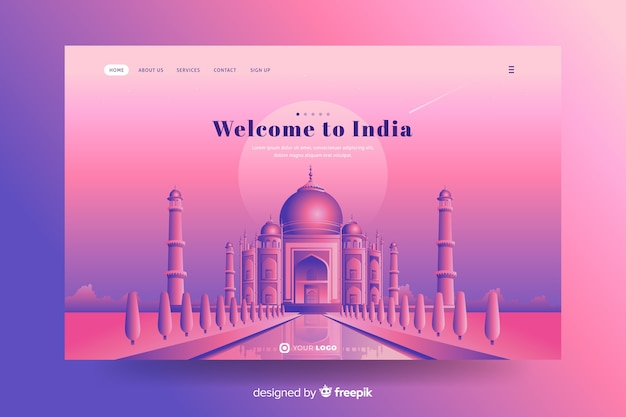 Welcome to india landing page with taj mahal
