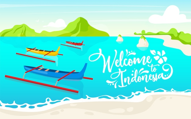 Welcome to indonesia flat poster template. boats in lake. waterscape. banner, leaflet design. thailand picturesque landscape cartoon background. canoes in water with calligraphic lettering