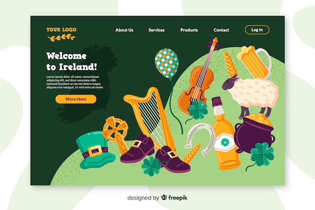 Welcome to ireland landing page flat design