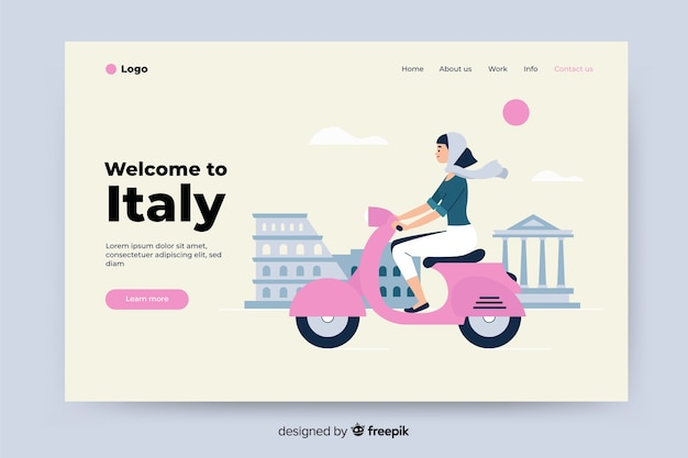 Welcome to italy colorful landing page