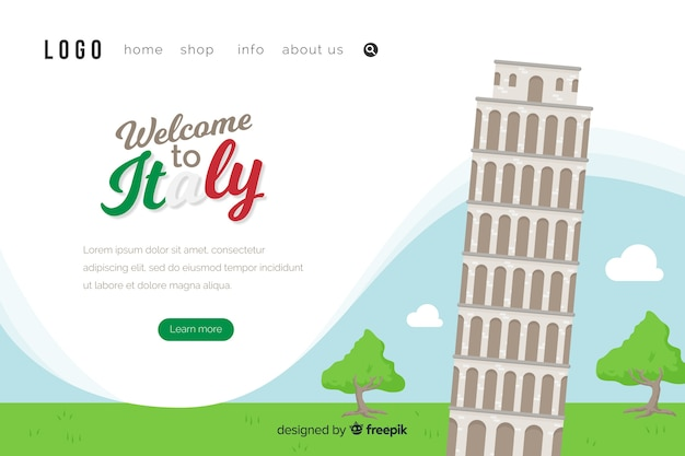Welcome to italy landing page template