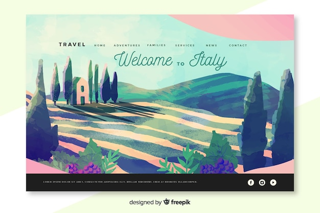 Welcome to italy landing page