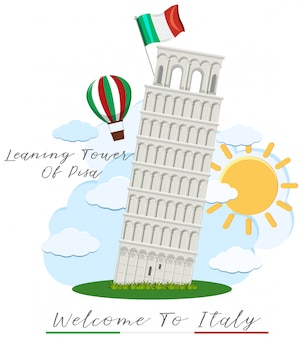 Welcome to italy with leaning tower of pisa
