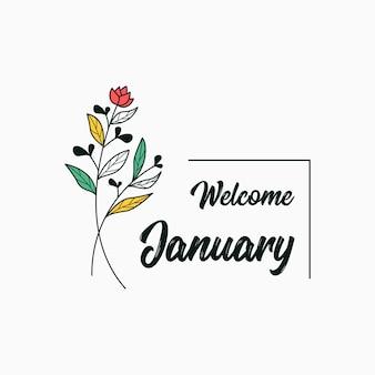 Добро пожаловать в январь с цветочным дизайном шаблона цветов