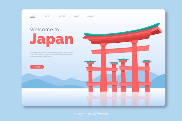 Welcome to japan landing page template flat design