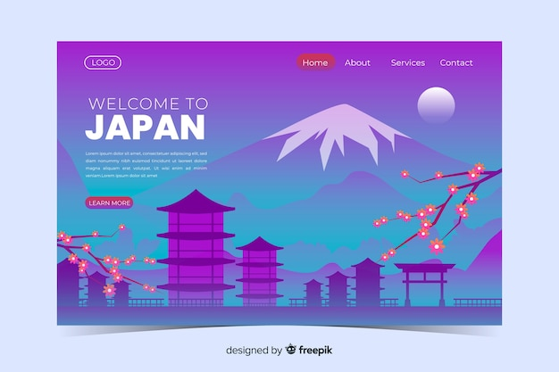 Welcome to japan landing page template with landscape