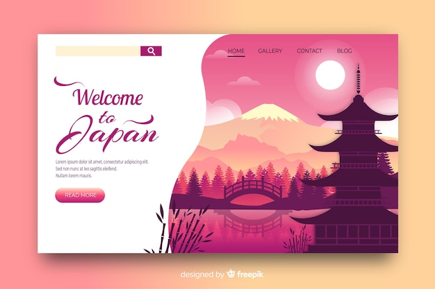 Welcome to japan landing page template