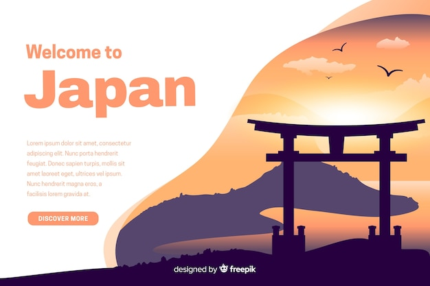 Welcome to japan landing page with illustrations