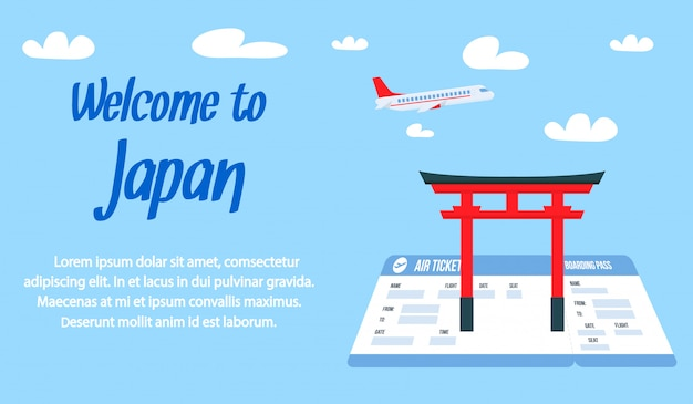 Welcome to japan lettering vector banner template.