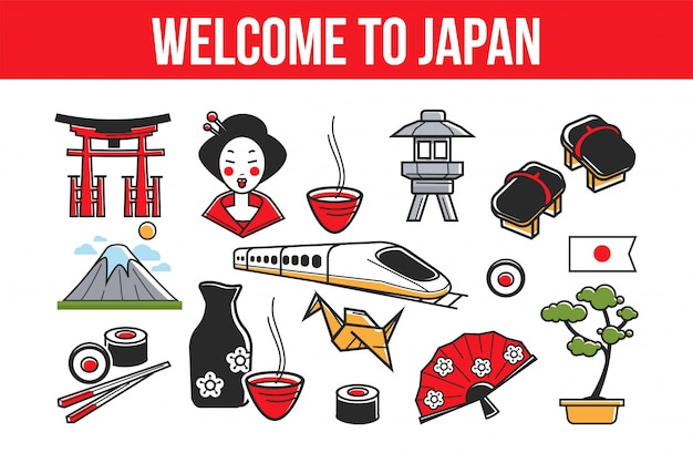Welcome to japan promo banner with national symbols