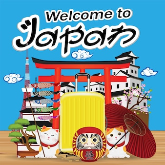 Welcome to japan with japan object and landmark