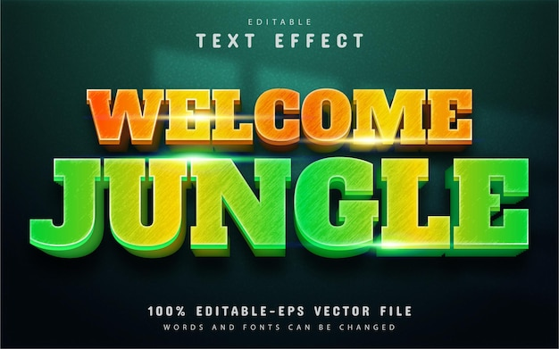 Welcome jungle text, editable 3d text effect with gradient